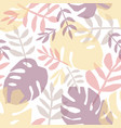 tropical leaves hand drawn seamless pattern vector image vector image