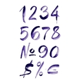 Watercolor hand written purple numbers vector image vector image
