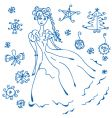 winter doodle vector image vector image