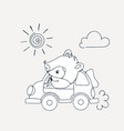 with a cheerful racoon in car vector image
