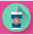 Paper coffee cup with straw Hot outdoor drink vector image