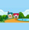 a flat rural house landscape vector image vector image