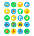 Art and crafts flat round icons set