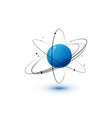 atom with blue core orbits and electrons isolated vector image vector image