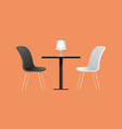 black and white chairs and table in cafe vector image