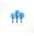 blue trees in abstraction style with white snow vector image vector image