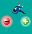 Businessman jumping to positivity vector image