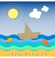Cardboard boat sailing and traveling vector image vector image