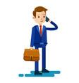 cartoon businessman talks by phone vector image vector image