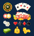 cartoon icon collection of different games casino vector image vector image