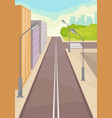 city street with road high-rise buildings vector image vector image