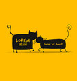couple cats sketch for your design vector image vector image