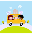 Cute kids in school bus on the hill vector image vector image