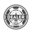 dealer chip vintage isolated label vector image vector image