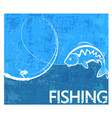 fishing rod and fish poster vector image vector image