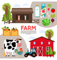 flat farming elements composition vector image
