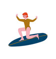 girl surfer riding surfboard attractive young vector image vector image