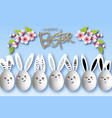 happy easter funny bunnies with easter eggs on a vector image