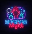 horror night neon sign halloween poster vector image vector image