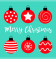 merry christmas ball set red round and black vector image vector image