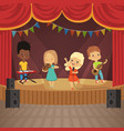 music kids band on concert scene vector image vector image