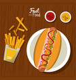 poster fast food in kitchen table background with vector image vector image