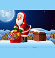 santa holding bag of presents christmas background vector image