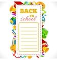 Schedule with school supplies vector image