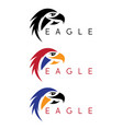 simple colorful eagles design template set vector image