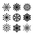 snowflakes black isolated on white vector image vector image