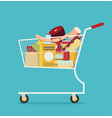 supermarket shopping cart flat isolated on color vector image vector image