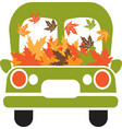 truck with leaves green with leaves vector image