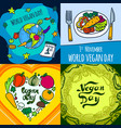 vegan day banner set hand drawn style vector image vector image
