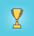 winner cup on blue background golden trophy for vector image