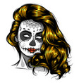woman with sugar skull face paint vector image vector image