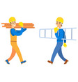 workers holding logs and stairs building vector image vector image