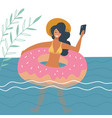 young woman swimming on inflatable ring makes vector image vector image
