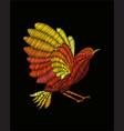 fantasy bird embroidery vector image