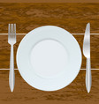 empty plate fork and knife on the wood background vector image