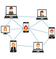 A network of people connected by technology vector image vector image
