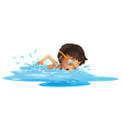 A young boy swimming with a yellow goggles vector image vector image