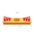 beer pong game for party on wooden table vector image vector image