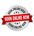 book online now 3d silver badge with red ribbon vector image vector image