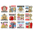 buddhism religion icons buddha meditation symbols vector image vector image