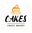 cakes logotype template sweet bakery badge label vector image vector image