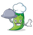 chef with food peas mascot cartoon style vector image vector image