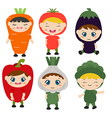 Children dressed like vegetables vector image