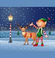 christmas background with an elf and reindeer vector image