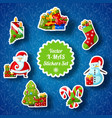 christmas stickers set vector image