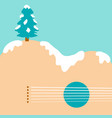 christmas tree and acoustic guitar background vector image vector image